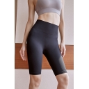 Womens Shorts Creative Solid Color Butt Lifting Quick Dry Breathable Half Length High Waist Skinny Fitted Yoga Shorts