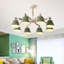 Tapered Chandelier Lighting Fixture Macaron Metal Bedroom Pendant Lamp with Wooden Rod