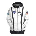 Trendy NASA Logo Printed 3D Buckled Long Sleeve Zip Up Hoodie