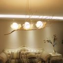 Artistic Bird Nest Chandelier Lighting Metallic 3 Heads Living Room Pendant Light Fixture in Beige
