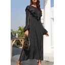 Fashionable Ladies Dress Glitter Bell Sleeve Round Neck Ruffled Trim Mid A-line Dress in Black