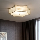 Ribbed Glass Ceiling Lighting Minimalist Gold Six Pointed Star Shaped Bedroom Flush Mount Fixture