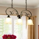Black Scrolls Suspension Light Vintage Metal 3-Head Dining Room Island Lamp with Floral White Glass Shade
