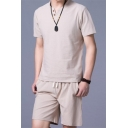 Basic Mens Co-ords Solid Color Short Sleeve Round Neck Tee Regular Fitted Drawstring Waist Shorts Co-ords