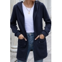 Simple Womens Coat Solid Color Long Sleeve Hooded Relaxed Fit Coat