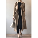 Fashion Womens Trench Coat Long Sleeve Shawl Collar Longline Plain Loose Fit Trench Coat