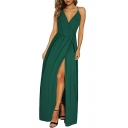 Elegant Amazing Ladies' Sleeveless V-Neck Lace Trim High Slit Side Bow Tie Hollow Back Maxi Evening Flowy Cami Dress in Green