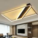 Black Rectangular Ceiling Flush Light Minimalistic Aluminum LED Flushmount Lighting for Living Room