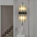 Pan Flute Shaped Stairs Sconce Light Clear Crystal Glass 2-Bulb Postmodern Wall Light Fixture