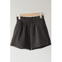 Novelty Womens Shorts Bright Silk Cord High Elastic Waist Regular Fitted A-Line Relaxed Shorts
