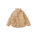 Leisure Womens Coat Corduroy Plain Long Sleeve Bow-tied Neck Button Up Loose Fit Down Coat in Yellow