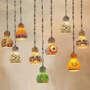 Gourd Shaped Stained Art Glass Pendant Light Turkish Style Single Restaurant Suspension Light