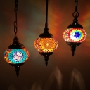 Globe Lantern Restaurant Pendant Light Turkish Tiffany Glass 1 Head Ceiling Hang Lamp