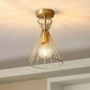 Gold Plated 1 Head Semi Flush Ceiling Light Simplicity Iron Hourglass Shaped Flush Mount Fixture