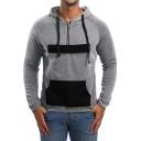 New Trendy Patchwork Front Colorblock Big Pocket Half-Zip Fitted Hoodie for Men