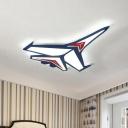 Blue Jet LED Flush-Mount Light Childrens Acrylic Flush Mount Ceiling Fixture for Bedroom