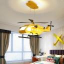 Helicopter Childrens Bedroom Chandelier Metal LED Kids Hanging Ceiling Light Fixture