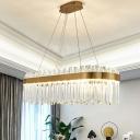 Prismatic Crystal Oval Pendant Light Modernist Golden LED Island Light Fixture for Restaurant
