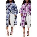 Trendy Womens Jacket Plaid Patterned Long Sleeve Spread Collar Button Up Longline Oversize Jacket