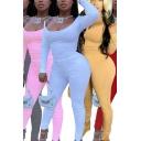 Hot Womens Set Solid Color Long Sleeve Scoop Neck Fit T Shirt & Leggings Set