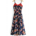 Sexy Womens Dress Allover Floral Printed Spaghetti Straps V-neck Long A-line Cami Dress in Navy