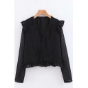 Girls Stylish Black Shirt See-through Mesh Polka Dot Long Sleeve Deep V-neck Ruffled Relaxed Fit Shirt
