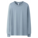 Leisure T Shirt Plain Long Sleeve Crew Neck Relaxed Fit Tee Top for Boys