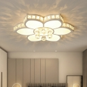Clear Crystal Flower Ceiling Lamp Contemporary LED Flush Mount Light with Acrylic Shade for Bedroom
