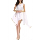 Pretty Womens Dress Contrast Pipe One Shoulder Patched Short A-line Dress in White