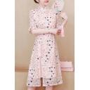 Chic Womens Dress Ditsy Floral Pattern Split Design A-Line Half Ruffle Sleeve Mandarin Collar Slim Knee-Length Modified Cheongsam Dress