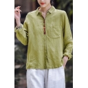 Leisure Shirt Solid Color Linen Long Sleeve Spread Collar Button Up Relaxed Fit Shirt for Women