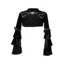 Stylish Womens Coat Velvet Plain Bell Sleeve Mock Neck Buckle Strap Super Cropped Coat