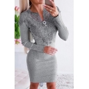 Trendy Women's Bodycon Dress Patchwork Lace Mesh Notched Collar Ribbed Knit Long Sleeve Mini Bodycon Dress