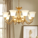 Bell Shaped Living Room Suspension Light Traditional Semi-Opaque Glass Gold Chandelier