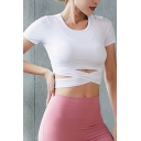 Workout Womens T-Shirt Solid Color Cross Hem Short Sleeve Cropped Round Neck Skinny Fit Yoga Tee Top
