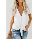 Ladies Plain Short Sleeve Deep V-neck Button-up Tied Hem Loose Fancy Blouse Top