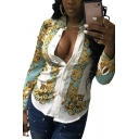 Womens Fashion Yellow Pattern Long Sleeve Button Down Fitted Shirt