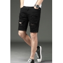 Men's New Fashion Destroyed Ripped Rolled Cuff Solid Color Washed Casual Denim Shorts