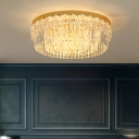 Gold Round Ceiling Light Fixture Simplicity Crystal Flushmount Lighting for Bedroom