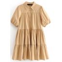 Girls Trendy Dress Short Sleeve Point Collar Ruffled Button Up Plain Short Pleated Swing Shirt Dress in Khaki