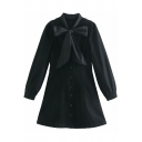 Fashion Girls Dress Long Sleeve Bow-tied Neck Button Up Short A-line Shirt Dress in Black