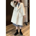 Fancy Women's Coat Solid Color Front Pocket Notched Lapel Collar Long Sleeve Relaxed Fit Coat