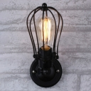 Cage Metal Rotatable Wall Mount Light Industrial 1 Bulb Kitchen Sconce Light in Black