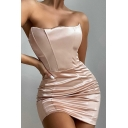 Party Girls Dress Solid Color Off the Shoulder Ruched Mini Bodycon Tube Dress