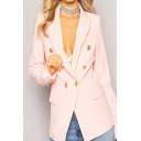 Pretty Ladies Blazer Solid Color Long Sleeve Notched Collar Double Breasted Regular Fit Blazer