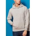 Mens Cool Hoodie Plain Cotton Drawstring Thick Ribbed Hem Pullover Long Sleeve Hoodie with Kangaroo Pocket