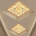 Carved Crystal Flower Flush Lamp Modern Clear LED Ceiling Mount Light for Corridor, Warm Light