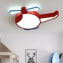 Helicopter LED Ceiling Flush Mount Light Cartoon Acrylic Childrens Bedroom Flush Mount Fixture