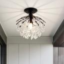 Small Balcony Semi-Flush Ceiling Light Clear Crystal Antique Style Flush Mount Lighting