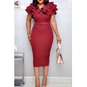 Gorgeous Womens Dress Plain Tiered Short Sleeve V-neck Belted Midi Tight Dress